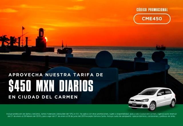 ¡Aprovecha nuestra tarifa de $450 MXN diarios en Ciudad del Carmen!