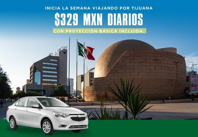 Estás rentando un auto INTERMEDIO en TIJUANA por 329 MXN Protección Básica Incluida. Sólo aplica en días Dom-Lun-Mar-Miérc.No aplica en viajes de solo ida