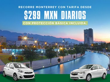 Renta un auto en Monterrey con protección básica desde 299 MXN