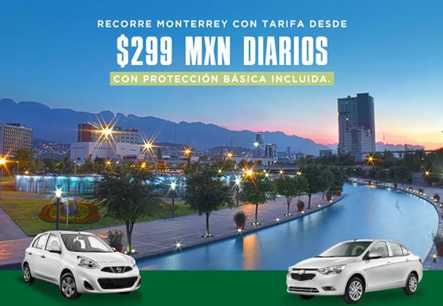 Estás rentando un auto en Monterrey desde 299 MXN con protección básica incluida.
