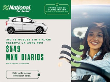 Tarifa de último minuto 549 MXN en la renta de tu auto con Protección Total