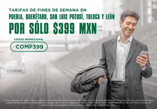 Tarifas de fines de semana por sólo 399 MXN