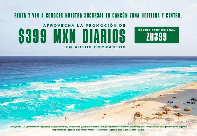 Ven y renta en Cancun un auto compacto por solo 399 MXN  diarios , conoce la hermosa ciudad y la rivera maya.
