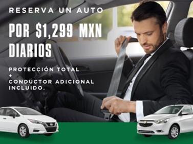 Viaja en auto por 1299 MXN con protección total y conductor adicional incluidos